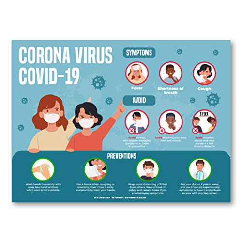 Covid Symptom Poster Stop - The Spread (Social Distancing Posters for Classrooms) 13x18 Non Laminated