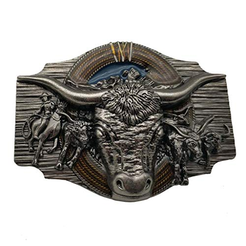 Hebilla de cinturón Longhorn Cowboy Cowgirl Bull Rodeo Western Texas Belt Buckle