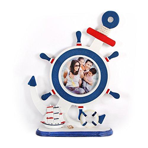 Tischdeckenshop24 Bilderrahmen aus Holz im modernen maritim Look - weiß - mit Anker, Steuerrad und Segelboot - 24x31 cm