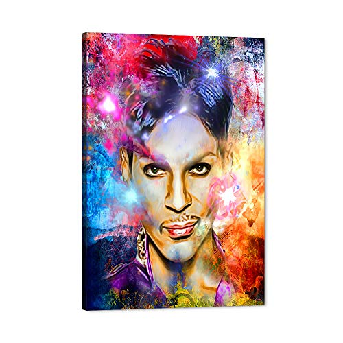 Prince Rogers Nelson Canvas Wall Art, Abstract American Musician King Art Prints Cool Man Prince Wall Painting, Music Colorful Framed Art Work Wall Poster for Room Decor Prince Fans Gift (12  Wx18 H)
