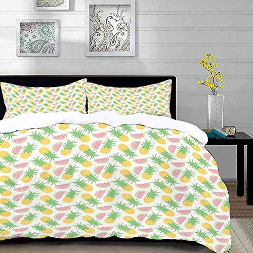 ropa de cama: juego de fundas nórdicas, garabatos de verano, piñas y sandías sobre un fondo de escamas punteadas, rosa manzana verde y ye, juego de fundas nórdicas de microfibra con 2 fundas de almoha