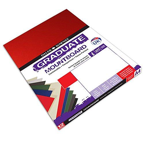 Daler Rowney Assorted A2 Graduate Mountboard (Pak van 5), Pack of 12, Blauw/Groen/Rood, 1