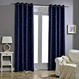Jaoul Night Sky Twinkle Constellation Kids Blackout Curtains for Bedroom, Space Inspired Window Grommet Nursery Drape, 1 Panel, 52 x 84 Inch, Navy Blue