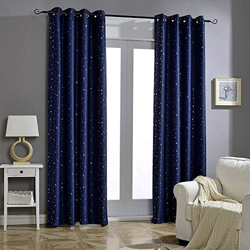 Kids Curtains Outer Space Constellation Blackout Curtains with Stars 52 x 84 Inch Boy Bedroom Window Treatment Grommet Nursery Drape, 1 Panel, Navy Blue