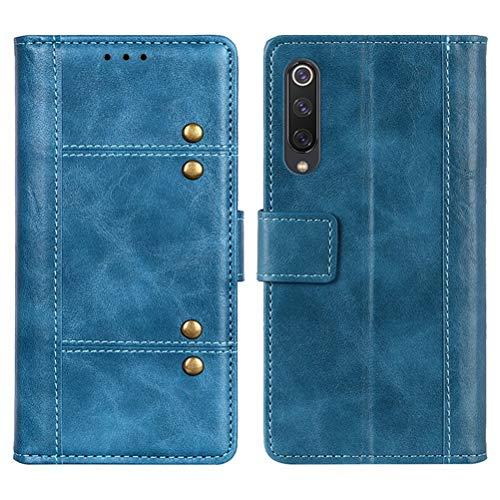 LUSHENG Capa para Xiaomi Mi 9 SE, capa carteira flip de couro PU, capa com fecho magnético com compartimentos para cartão e suporte dobrável com absorção de choque para Xiaomi Mi 9 SE - azul