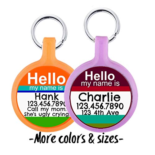 Silent & Lightweight Eco-Plastic Hello My Name Is' Pet ID Tag