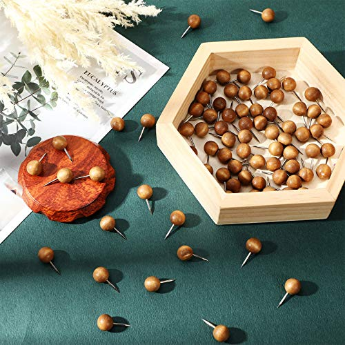 80 Pieces Wood Push Pins Round Head Wooden Pushpins Wooden Thumb Tacks with Steel Needle Point Decorative Wooden Push Pins for Map Photos Documents Bulletin Boards Cork Boards Foam Boards, Brown Photo #7