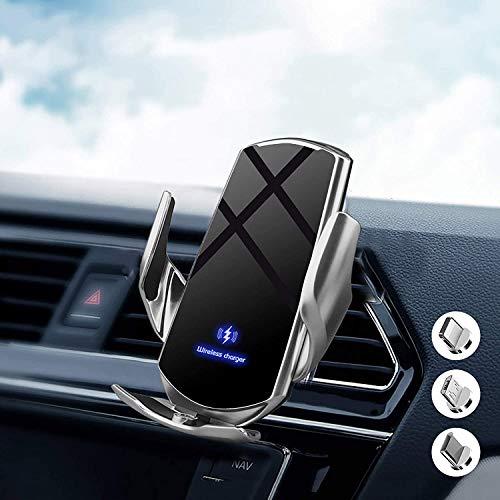 Chargeur sans Fil Voiture, Support de Voiture de Chargement sans Fil Qi à Induction Automatique Infrarouge 15W pour iPhone/Galaxy, avec 3 Adaptateurs Magnétiques pour et Tous Les téléphones