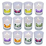 Enamorare Set of 12 Hand Poured Scented Soy Aromatherapy Candles 1.6 Oz Votive Candles with 6 Fragrances for Home Scented, Relaxing Stress Relief, Birthday