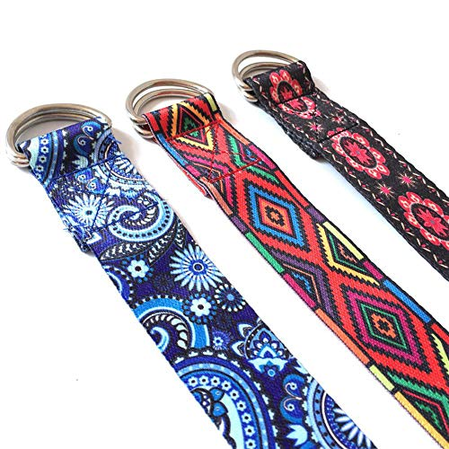 RMI Kleur Decoratief Patroon Stretching Riem Veters Iyengar Yoga Touw Muur Lanyard Spanning