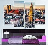 Suwhao Dekoration Gemälde Auf Leinwand Wand Beliebte 4 Stück/Stücke München Deutschland Bayern Bilder Home Kunst Für Wohnzimmer Hd Gedruckt