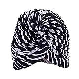 TININNA Bandana a Pieghe Stile Vintage Cuffia,Turbante Retro Equipaggiata Copertura della Testa Wrap Fascia Chemo Bandana Hijab Pieghe cap Indiano-Zebra