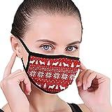 Huyotop Máscara lavable reutilizable de 15 x 12 cm, pendientes ajustables a prueba de polvo, antipolvo, antigripe, siluetas de Norwich Terrier, patrón de suéter navideño