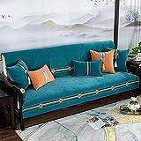 Fsogasilttlv Protector Cubierta para sofá Azul para sofá de Dos plazas, Funda de sofá de Chenilla Bordada, Toalla de Color sólido, Funda de Asiento para Sala de Estar de 35 * 63 Inch