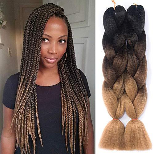 Besteffie 24inch 5pcs/lot Ombre Braiding Hair Kanekalon Synthetic Hair Extensions Synthetic Fiber For Jumbo Braid Hair Bundles Black-Dark Brown-Light