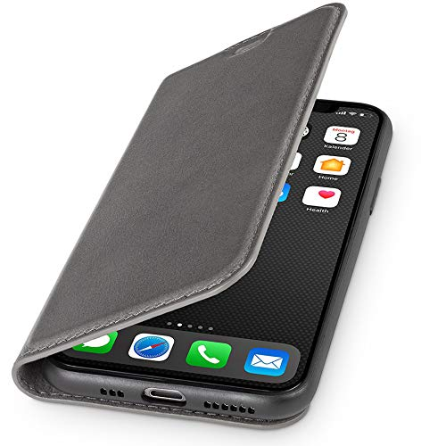 WIIUKA Echt Ledertasche - TRAVEL Nature - Hülle für Apple iPhone 11 Pro - ITALIENISCHES Leder - Vintage Grau, mit Kartenfach, extra Dünn, Tasche, Premium Leder kompatibel mit iPhone 11 Pro