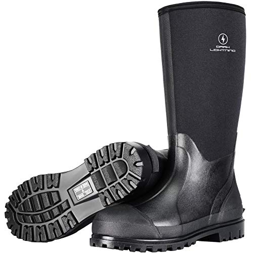 Dark Lightning Rubber Boots for Men and Women,Waterproof Muck Rain Boots with Steel Shank for Fishing Hunting,Neoprene Durable Black Outdoor Boots (8)