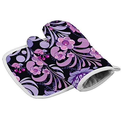 Wenxiupin Isolierhandschuhe mit schönem Blumen-Muster, professionell, hitzebeständig, inklusive isolierten Handschuhen und isolierten quadratischen Pads