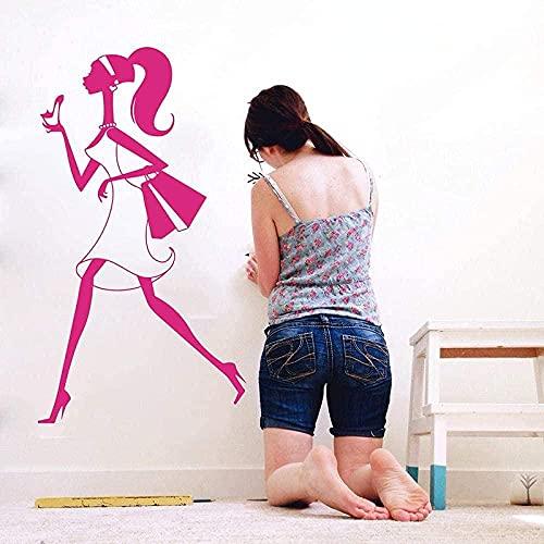 Etiqueta De La Pared Calcomanía Chica De Compras Shopaholic Stilettos Vitrina Moda Sexy Bolso Femenino Tienda Decoración De Vinilo 43X80 Cm Decoración De La Pared Del Hogar Mural