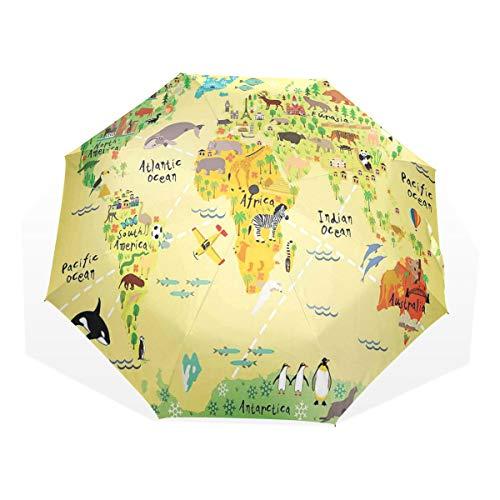 LASINSU Regenschirm,Pädagogische Weltkarte Afrika Amerika Pinguine Atlantik Pazifik Tiere Australien,Faltbar Kompakt Sonnenschirm UV Schutz Winddicht Regenschirm