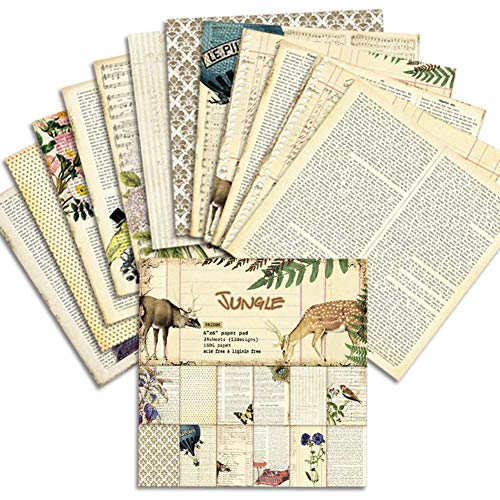 "advancethy 24BLATT Vintage Design for DIY Craft Scrapbooking Paper Patterned Card Craft Paper Photo Background Decoration 6"""