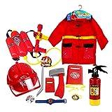 Kinderkostüm Feuerwehrmann Feuerwehr Einsatzjacke Ausrüstung 12-teilig Feuerwehrmann Kostüm und...