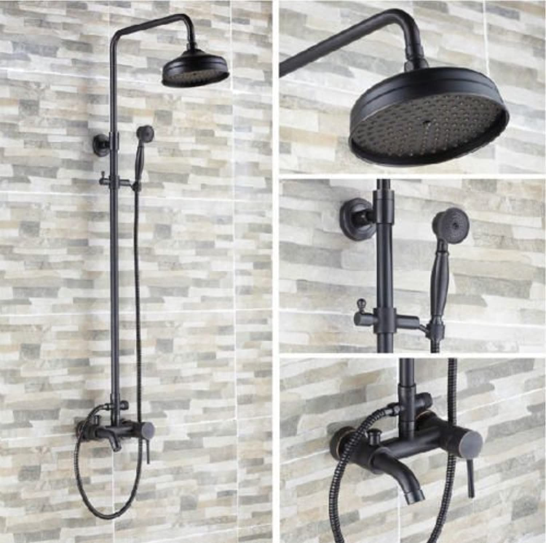 Oil Rubbed Bronze Bathroom Brass 8  Rain Shower Head Shower Set Faucet Single Handle Bath Shower Mixer Tap,schwarz
