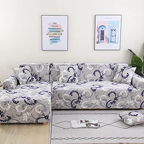 ASCV Gitterbedruckte L-förmige Sofabezug für Wohnzimmer Sofa Protector Elastic Stretch Covers All Inclusive Couchbezug A20 4-Sitzer