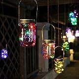 Generic Solar Power Hanging Glass Jar Lamp 8 LED Beads Garden Courtyard Landscape Decor Light