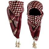 Mora Premium Shemagh Scarf: Large 100% Cotton Arab Tactical Military Desert Head Neck Keffiyeh Wrap (Maroon Goldenrod)