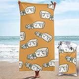 Lsjuee Toalla de Playa de Microfibra de Dibujos Animados de Tofu Vegano Toalla de Secado rápido para Acampar, Viajar y Nadar Ligero, Qu