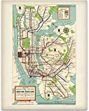 New York Subway Map 1948-11x14 Unframed Art Print - Great Vintage Home Decor Under $15