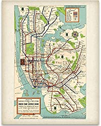 Image: New York Subway Map 1948 Art Print | 11x14 Unframed Art Print | Great Vintage Home Decor