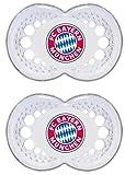 MAM Football Schnuller im 2er-Set, Original Schnuller im Fan Design vom FC Bayern München, zahnfreundlicher Baby Schnuller aus MAM SkinSoft Silikon, 6-16 Monate