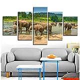 YYZCM 5 lienzos Pinturas en lienzo Arte de la pared Decoración para el hogar Estampados en HD Marco 5 Piezas Elefantes Cuadros de la familia Modern Animal Elephant Swarm Poster