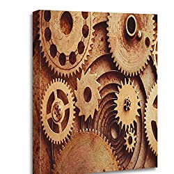 Altuny Canvas Print Wall Art Painting Pictures Steampunk from Mechanical Clocks Details Over Old Metal Inside Clock Gears 12x16 Inch Artwork Modern Decor for Living Room Bedroom Bathroom Great Gift