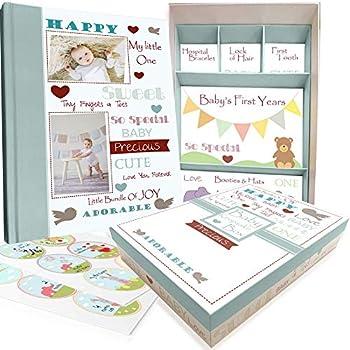Baby Memory Book w/Keepsake Box & 30 Monthly & Baby First Milestone Stickers - Gender Neutral First Year Scrapbook Journal - Baby Photo Album for Boys & Girls