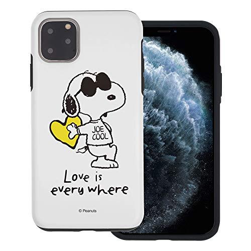 """iPhone 11 ケース と互換性があります Peanuts Snoopy ピーナッツ スヌーピー ダブル バンパー ケース デュアルレイヤー 【 アイフォン 11 ケース (6.1"""") 】 (スヌーピー な愛 黄) [並行輸入品]"""