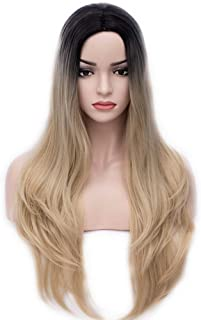 """BERON 27"""" Women's Long Wavy Wig Dark Root Ombre Parted Synthetic Wig Daily Use Halloween Cosplay Costume Party Wig (Black to Ash Blonde)"""