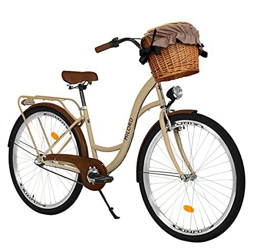 Milord Bikes Bicicletta Comfort Marrone a 3 velocità da 26 Pollici con cestello e Marsupio Posteriore, Bici Olandese, Bici da Donna, City Bike, retrò, Vintage