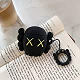 AKXOMY Airpods Charging Case,3D Cute Bear Silicone Cartoon Airpods Charging Dock Cover,Character Design Airpod Girls Kids Women Soft Full Protective Skin Cases for airpods 1&2 (Black Bear)