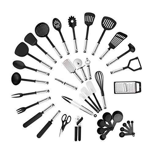 YUTRD ZCJUX Kitchen Utensil Set 40-Piece Cooking Utensils Nylon and Stainless Steel Utensil Set Nonstick Spatula Set Cooking Tool Set Gift