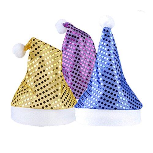 OULII Cappelli Babbo Natale con Paillette Cappello Natalizio Glitter in Viola Blu e Giallo 3PCS