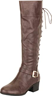 Cambridge Select Women's Back Corset Lace Moto Chunky Block Low Heel Knee-High Boot