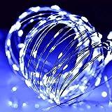 LEDイルミネーションライト ジュエリーライト 100球 10m 電池式 リモコン付 8パターン 点滅 点灯 タイマー機能 防水 防塵仕様 屋外 室内 ガーデンライト 正月 クリスマス 飾り ストリングライト (ブルー)