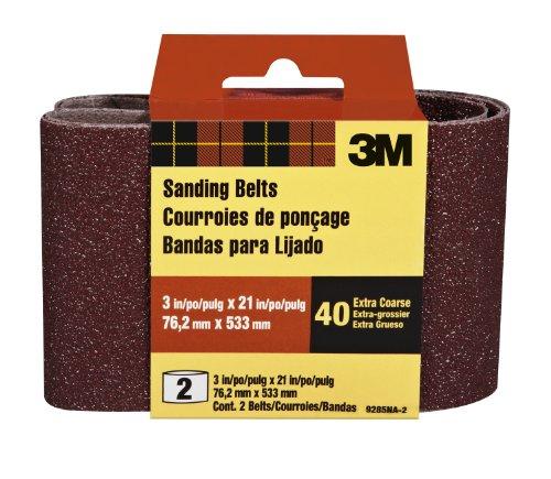 3M 9285NA-2 Heavy Duty Power Sanding Belts, 3-Inch by 21-Inch, Eby. Coarse, 40 grit, 2-pack
