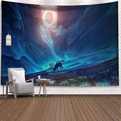 KHKJ Cósmico Cielo Estrellado decoración psicodélico Tapiz Colgante de Pared Indio Mandala Tapiz Hippie Tapiz Boho Pared a24 150x130 cm