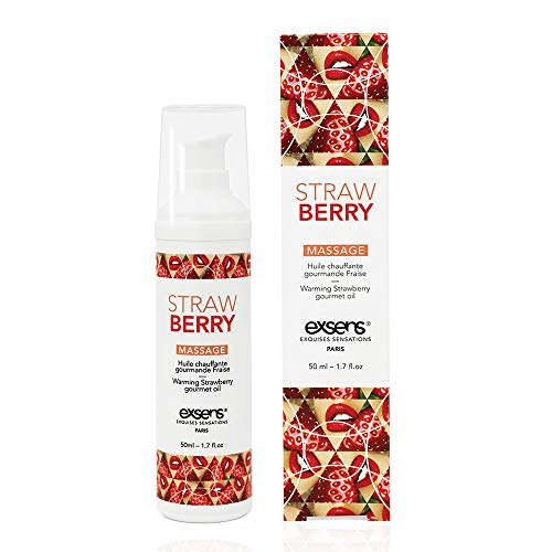 Exsens Strawberry Gourmet Warming Massage Oil, Flavored, All Natural, Vegan, Non-Staining, 50ml (1.7 fl.oz), 1 Count