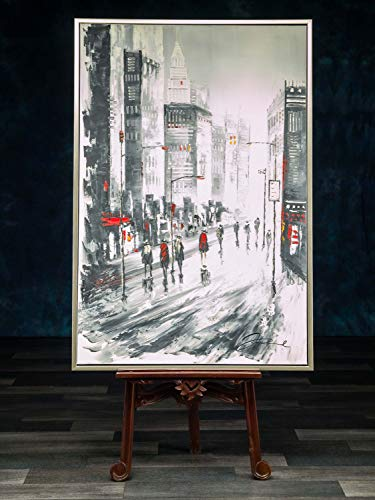 aubaho Klassische Moderne Ölgemälde Gemälde USA Skyline Hochhaus mit Rahmen 124x84cm