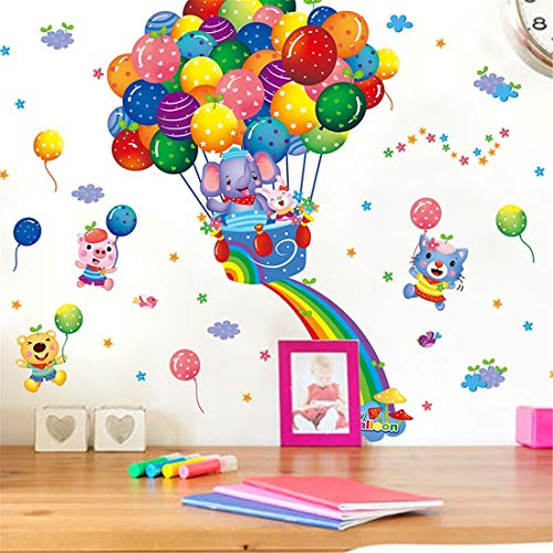 Children's room, children's room, kindergarten wall, balloon decoration, stickers, cartoon, cute animated stickers, layout, travel notes.